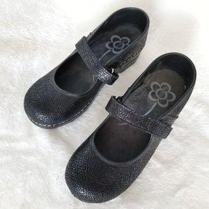 Sanita Textured Black Mary Jane Strap Clogs 39